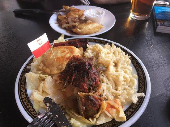 Bloomfield Bridge Tavern: Platter with tolabki, haluski & kluski + plate of pierogis