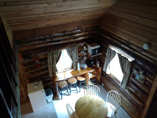 Midnight Sun Log Cabins: View from the top level looking down into dining area.