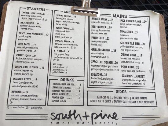 มอร์ริสทาวน์, นิวเจอร์ซีย์: Dinner menu