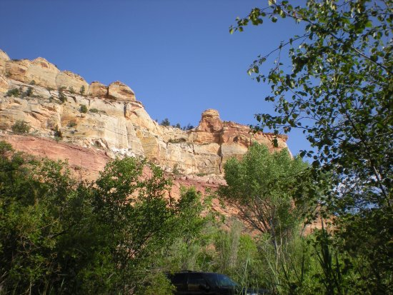 Calf Creek Falls Recreation Area: View from our camping spot #9