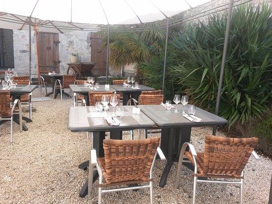 Sainte-Hermine, França: terrasse en jardin