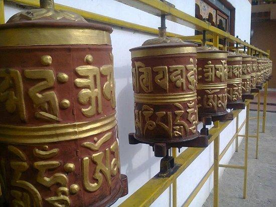 Prayer wheels, saying Om Mani Pad me Hum. Bhutan,,, A, Sharma