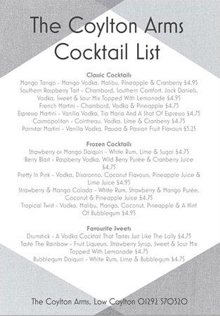 Coylton, UK: Cocktail list
