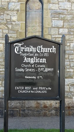 Trinity Church: sign with worshop times