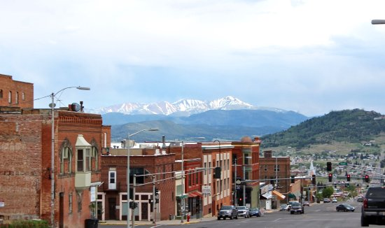 The view of Uptown Butte with the mountains in the background.