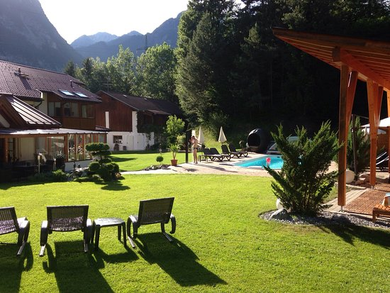 Nassereith, Austria: After a breathtaking ride down the old Roman Via Claudia you enjoy relaxing at the pool side