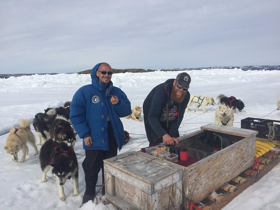 Iqaluit, Canada: Snack time on the frozen sea ice.