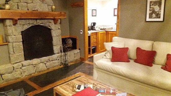 Cabanas Puerto Pireo: Sala de estar da cabana... bom gosto e conforto