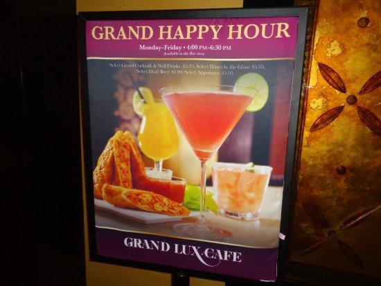 Happy Hour Picture Of Grand Lux Cafe Las Vegas Tripadvisor