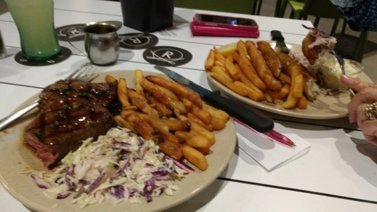 Wolli Creek, Australia: Rump steak and flathead fillets - both with crispy chips and coleslaw