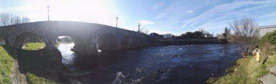 Foxford, Ireland: Panorama view of the bridge, river Moy with Moy Lodge