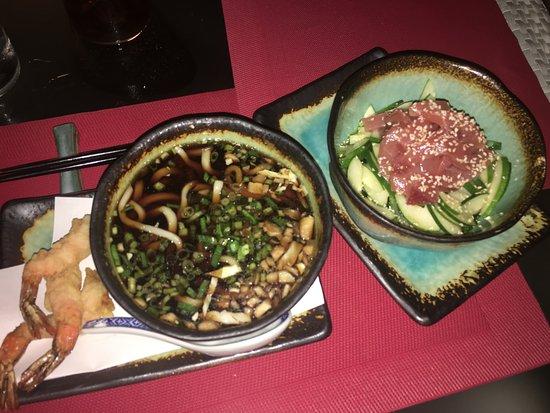 Bam Boo: Tempura Edon & Sashimi appetizers