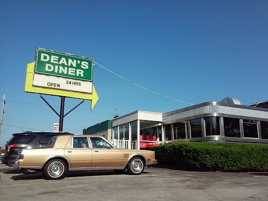 Blairsville, PA: Dean's Diner, Classic Chrysler at classic diner, Dean's Diner, stainless steel, jade green, Fedo