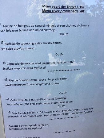 Uzerche, Γαλλία: Menu restaurant juin 2017 : menu à 22 et menu à 30