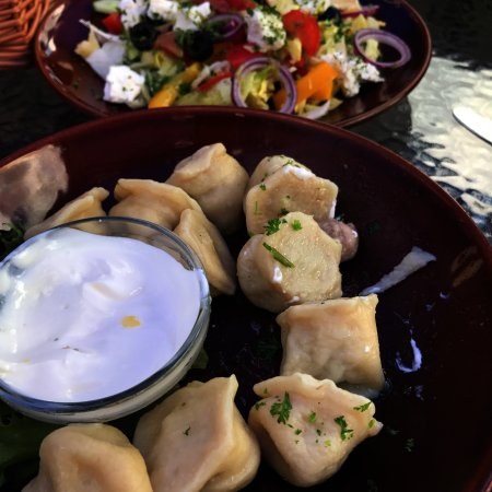 Viitna Korts: Pelmeni and a salad.
