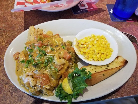 Harker Heights, TX: Fried Tilapia with shrimp and crab sauce