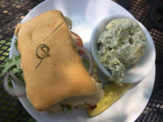 Essex, CT: Jamaican burger (substitute chicken) with potato salad ($13)