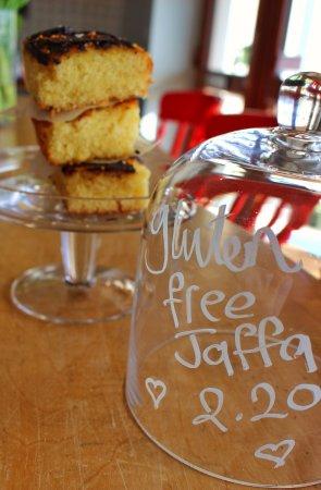 Shieldaig, UK: home made gluten free jaffa orange cake, yum!