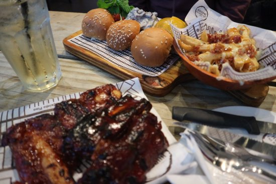 Claremont, South Africa: Ribs, sweet potato fries, sliders and loaded fries