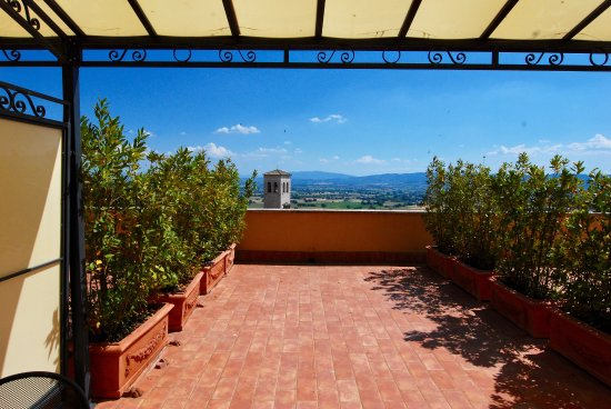 Our private patio at Hotel Giotto Assisi, Room 412.