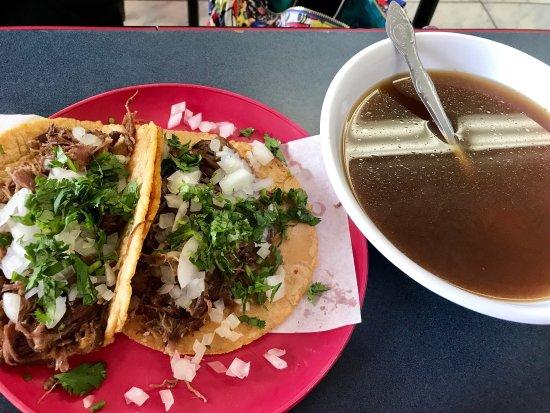 D. F. Tamales: Lamb Barbacoa tacos with consume and a chorizo quesadilla. Hand-made tortillas and lots of flavo