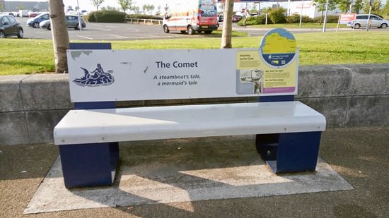 Port Glasgow, UK: a bench with the information about the boat