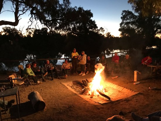 Cunnamulla, Australia: Gathering by the warming fire along the Warego River