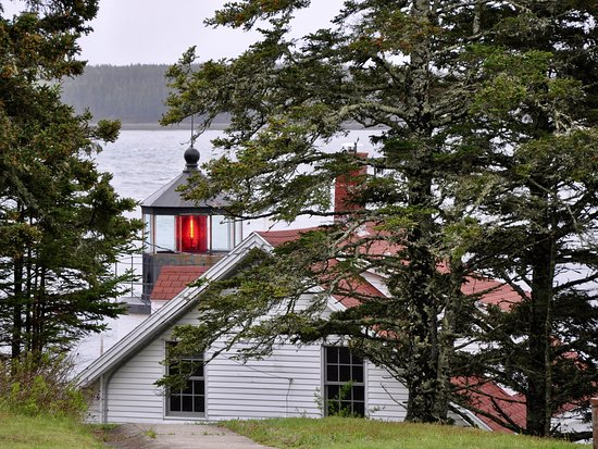 Bass Harbor Head Light - View Through The Trees From The Parking Lot
