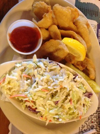 Henderson, NY: Perch with cocktail sauce and a large side of coleslaw.