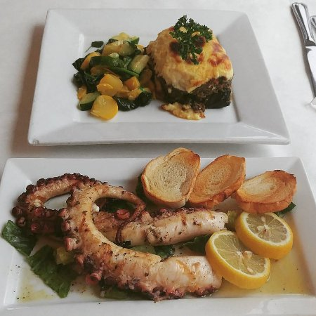 El Greco Cafe: Grill Octopus Appetizer and Moussaka Meal with Squash