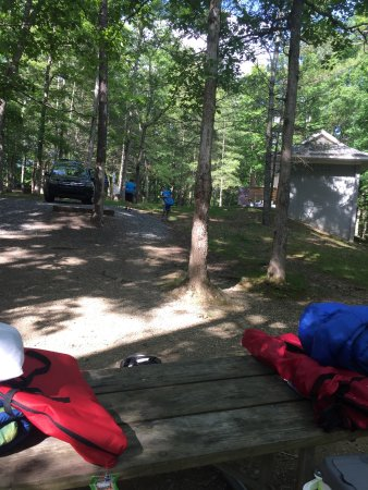 Hungry Mother State Park: Tent site C3 platform and view of bath house, view from Molly's Knob trail and kayak tour and be
