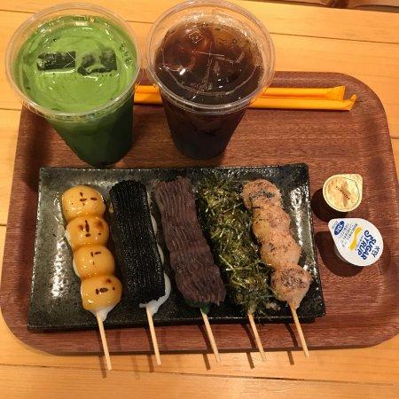 Ono, Japón: おまかせセットA(みたらし・ごまだれ・よもぎつぶあん・磯辺・かつお節)