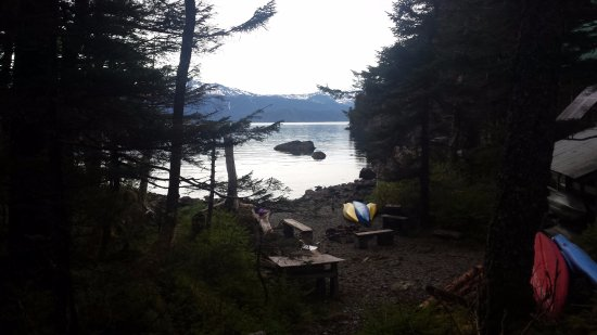 Kayakers Cove: View from the deck of one of the cabins