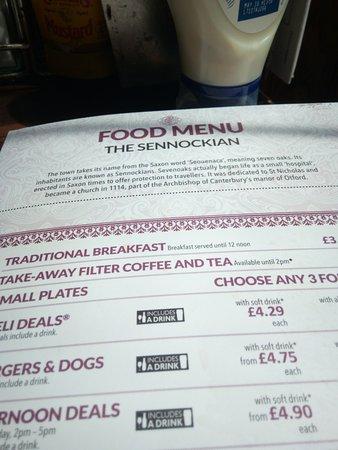The Sennockian: menu