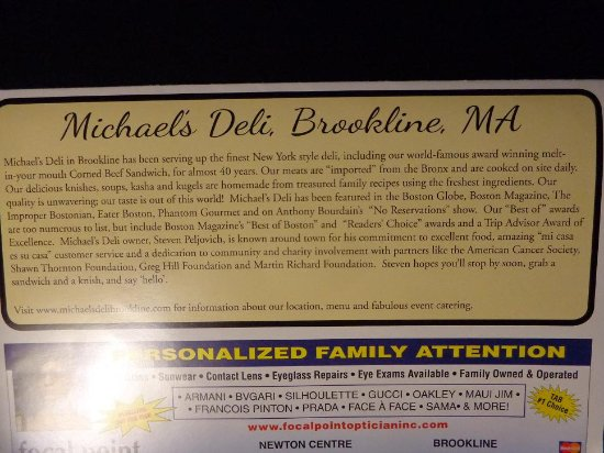 Brookline, MA: The deli story