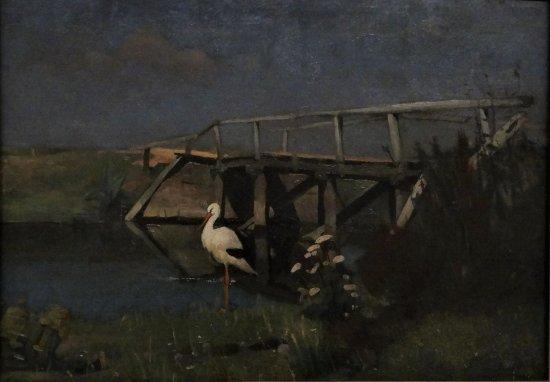 Museum Gouda: Piet Eimers - Ooievaar aan het water, ca 1995-1900