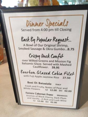 Bon Appetit Dinner Specials - Dunedin FL