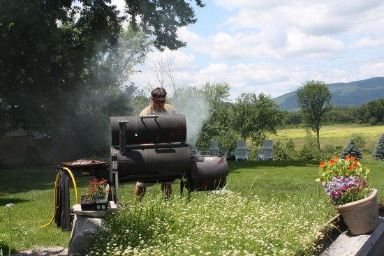 Fryeburg, ME: Jonathan loves to smoke our own meats & enjoy the view.