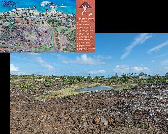 Koloa, هاواي: I pochi resti del villaggio ed il cartello esplicativo