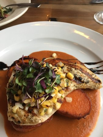 Quincy, MA: Swordfish on sweet potatoes medallions