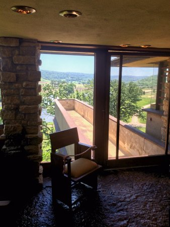 Taliesin Preservation: Inside the house looking out over the walkway