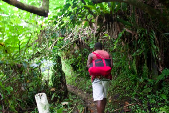 Lavena Coastal Walk: Our guide carrying the lunch our resort prepared for us along the muddy trail