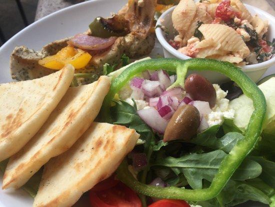 Zoes Kitchen Greek Chicken Pita chicken, greek salad, pita, pasta salad - picture of zoes kitchen