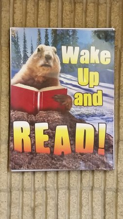 "Punxsutawney, PA: Cute ""READ"" poster in the library."