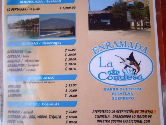 Barra de Potosi, Messico: Menu