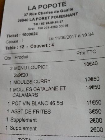 La Foret-Fouesnant, Frankrike: Deux euros pour changer le parfum de la glace au menu de mon fils, sans que la serveuse ne l'ann