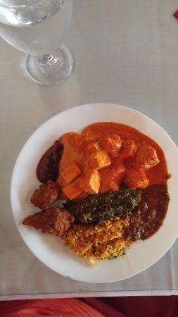 Dulles, VA: A plate from the lunch buffet--rice, dal, sag, paneer, butter chicken, samosas