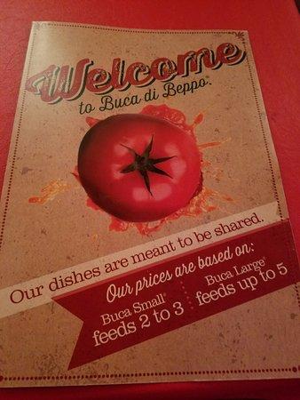 Buca di Beppo: The menu