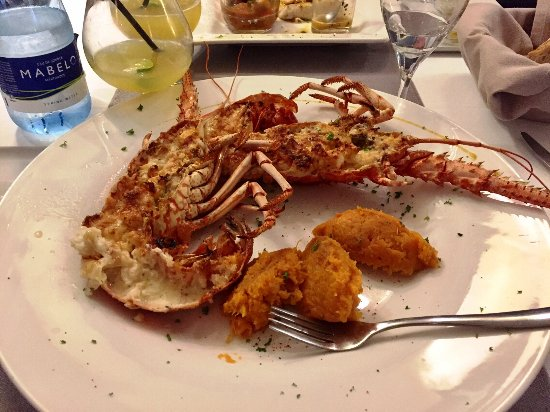 Cupecoy Bay, St Martin / St Maarten: Lobster Thermidor with mashed sweet potato