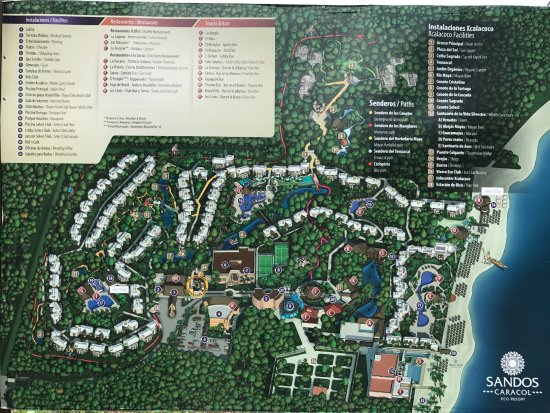 Sandos Caracol Eco Resort Map Map of the resort   Picture of Sandos Caracol Eco Resort, Playa  Sandos Caracol Eco Resort Map